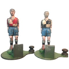 Pair of Antique Cast Alloy Fun Fair Soccer Players