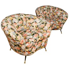 20th Century Floral Fabric Italian Pair of Design Armchairs, 1960