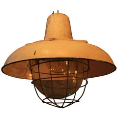 1950s Large Factory Lamp with a Reflector