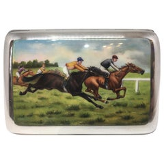 Art Deco Hand Painted Enamel Horse Racing Themed Silver Cigarette Case