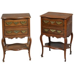 Pair of 18th Century Walnut and Chestnut Bedside Tables