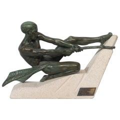 Max Le Verrier Art Deco Male Sculpture the Struggle Signed circa 1930 Bronzed