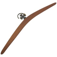 Bosse Baller Teak Wood and Metal Lucky Clover Coat Hanger Vienna, Austria, 1950s