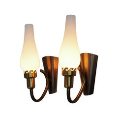 Danish Midcentury Brass and Opaline Sconces Made in the 1940s