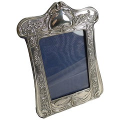 Art Nouveau English Sterling Silver Photograph Frame, Dragonfly, 1903