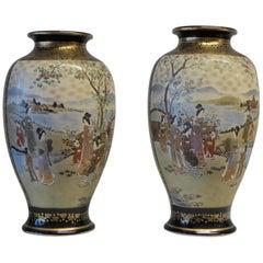 Near Pair of Meiji Period Satsuma Vases, 1868-1912