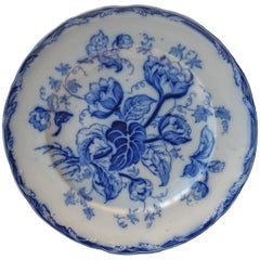 Antique Wedgwood Water Nymph, Flow Blue Dessert Plates, England, 1860s