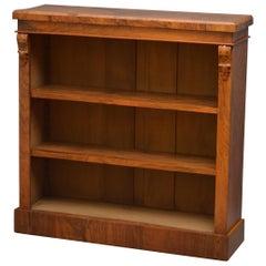 Victorian Figured Walnut Open Bookcase