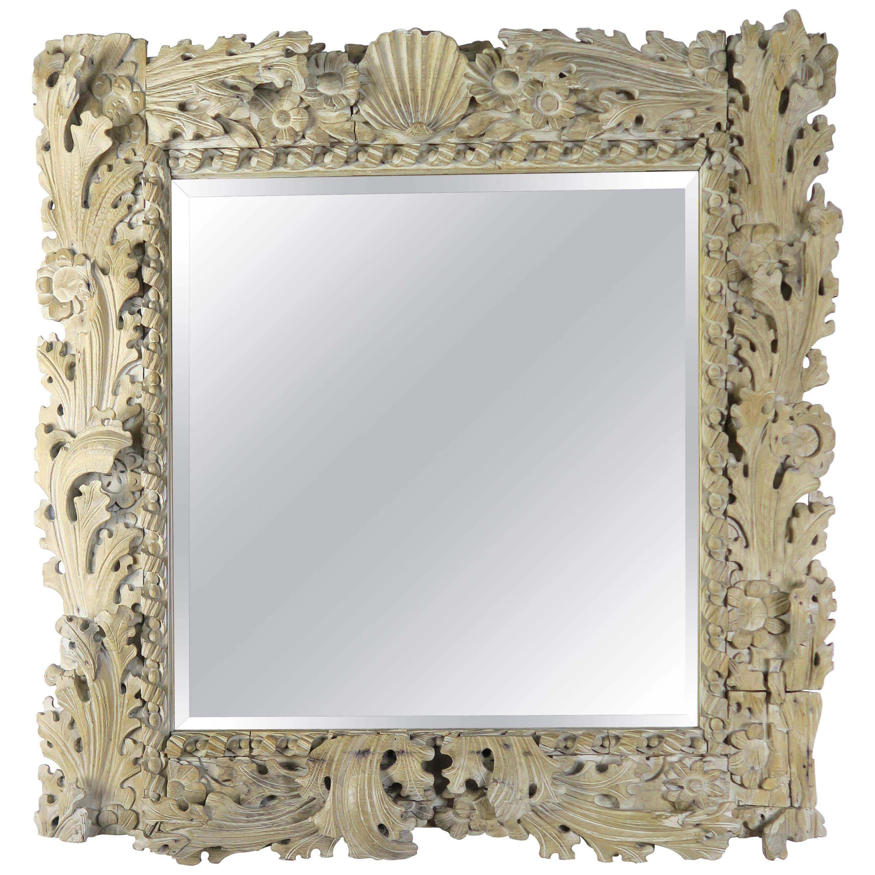 Italian Carved Bleached Walnut Acanthus Leaf and Shell Mirror