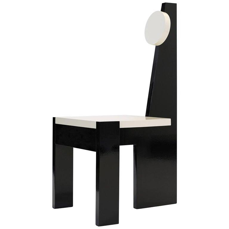 Trés Nouvelle Sculptural Chair in Black Lacquered Wood by Frédéric Pellenq For Sale