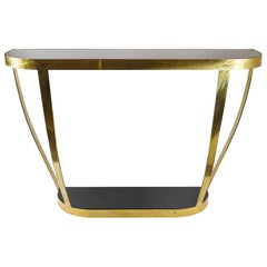 Italian Brass and Black Glass Top Console Table