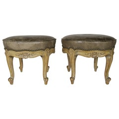 French Carved Walnut Leather Upholstered Stools, circa 1930s, Pair