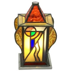 Art Deco Square and Organic Shaped Stained Glass Table Lamp