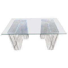 Wire Chrome and Glass Desk