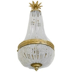 Antique French Bronze and Crystal Chandelier, circa 1850