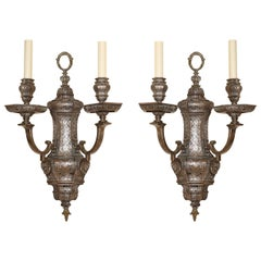 Pair of Regency Style Silvered Sconces