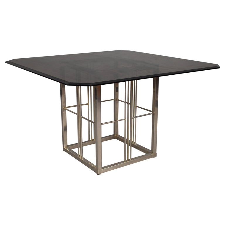 glass dining room tables for sale | Seventies Square Smoked Glass Dining Table For Sale at 1stdibs