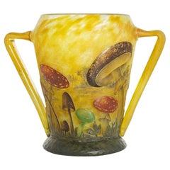 Daum Enameled Mushroom Vase