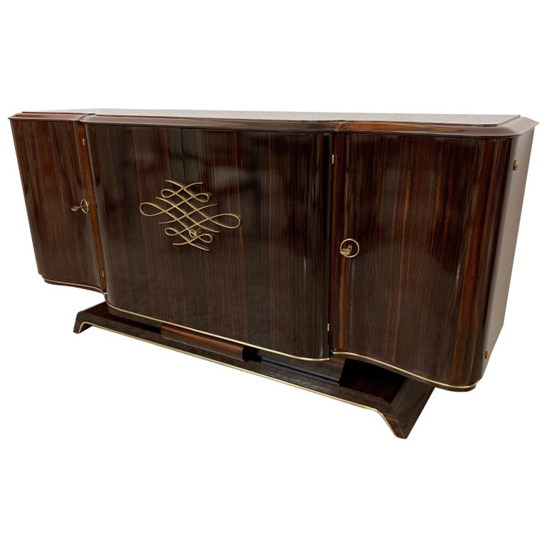 Gouffè Art Deco Macassar and Brass French Sideboard, 1930s For Sale