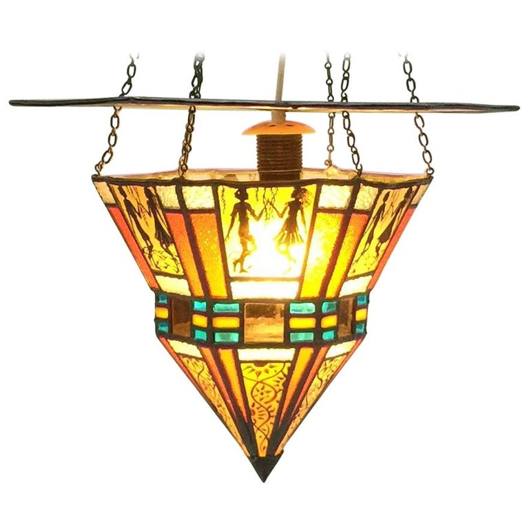 Art Deco Stained Glass Ceiling Lamp For Sale