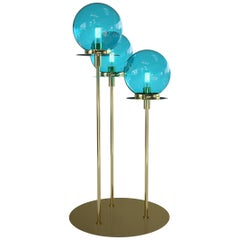 Eclat D'eau Floor Lamp with 3 Lights in Murano Glass and Metal Structure