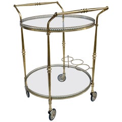 Round Bar Trolley of Maison Baguès, Bar Cart with Bottle Holder, France, 1950s