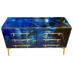 Blue Lapis Lazuli Effect Opaline Glass Chest of Drawers Brass Details, 1980s