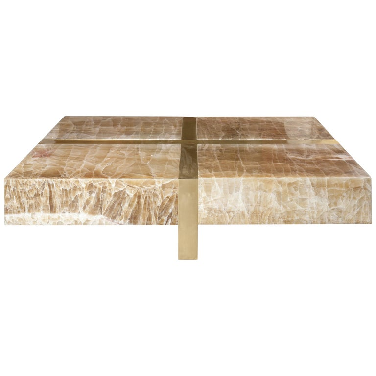 Onyx Stone Coffee Table by Studio Glustin For Sale