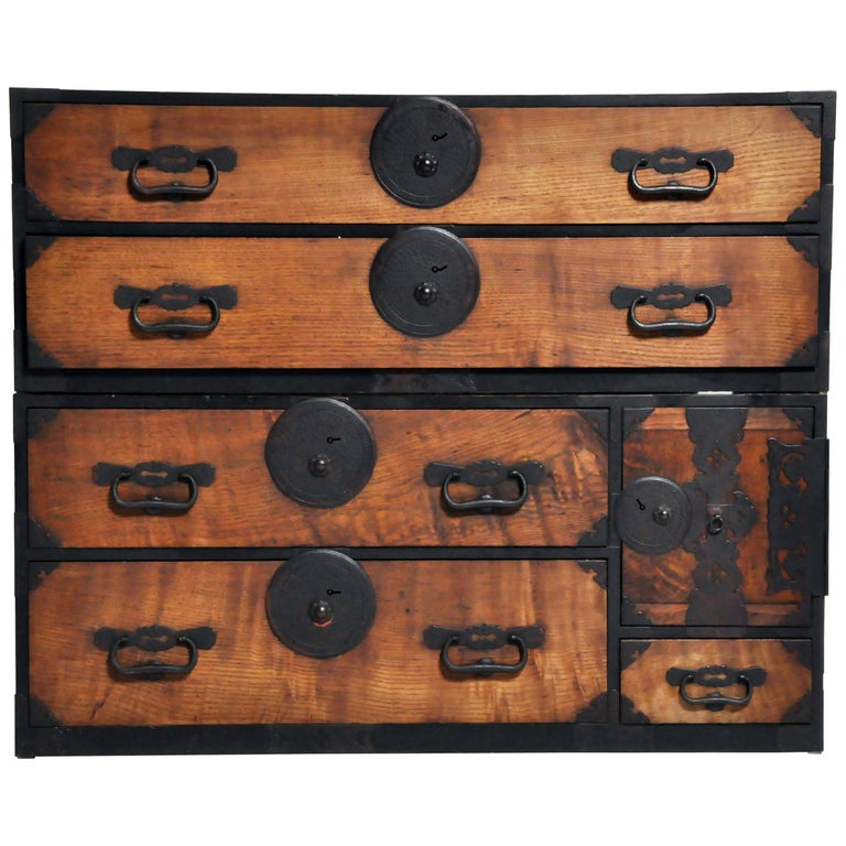 Japanese Tansu with Hand-Forged Hardware For Sale