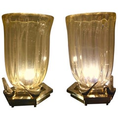 Pair of Murano Glass Infused with Gold Flecks Brass Base with Brass Birds, 1980s