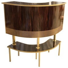 French Mid Century Macassar Curved Dry Bar
