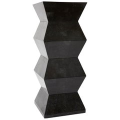 Oversized Postmodern Tessellated Black Stone Accordion Pedestal, 1990s