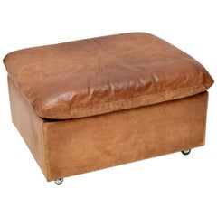 1960s Vintage Tanned Leather and Chrome Footstool Ottoman