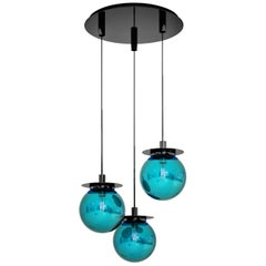 Eclat d'Eau Pendant Lamp 3 Lights in Murano Glass and Metal Structure