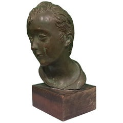 Head of Young Boy, Bronze Sculpture by Attilio Torresini, Beginning of 1900