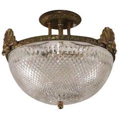 1931 NYC Waldorf Astoria Hotel Ornate Cast Brass Semi Flush Light