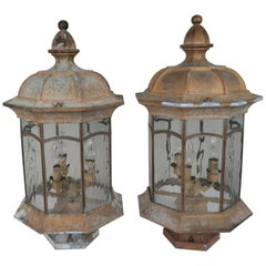 French Pagoda Shaped Post Lights, Pair