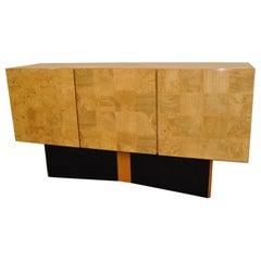 Modern Thayer Coggin Olivewood Credenza Design by Milo Baughman