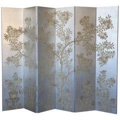 Gracie Six-Panel Silver Hand Painted Screen
