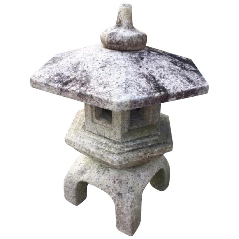 "Japan Stone Lantern ""Yukimi"" Hand Carved Classic Water or Snow Lantern For Sale"