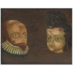 Folk Art Trompe l'oeil Double Portrait, circa 1780-1790