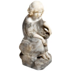 Marble Sitting Figure of a Young Girl