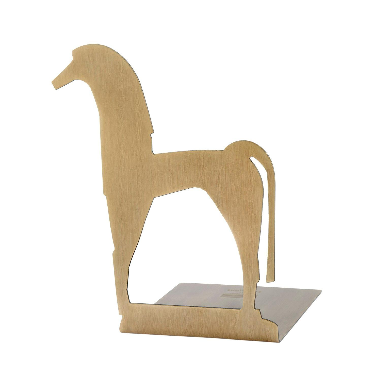 """Contemporary Handmade Brass Bookend """"Hippos"""" in Ancient Greek Forms by Anaktae"""