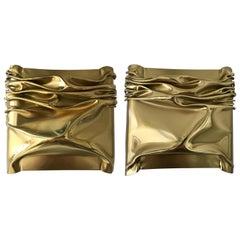 Pair of Brass Compression Sconces by Moniquet for Cheret Paris, France, 1970s