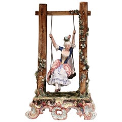 20th Century French Porcelain Barbotine Composition with Young Beauty on Swing