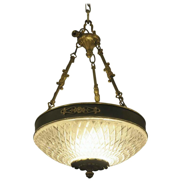 1931 NYC Waldorf Astoria Hotel Empire Cut Glass Pendant Light Chandelier For Sale