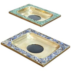 Set of Two Brass Trays with Semi Precious Stones
