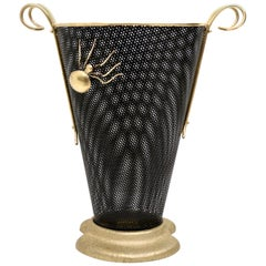 Brass and Black Varnished Metal Umbrella Stand, Italy, 1950s