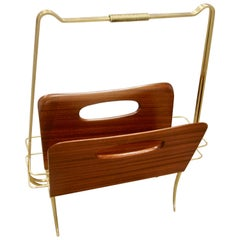 Italian Midcentury Magazine Rack or Stand in Wood and Brass
