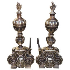 Pair of American Bronze Figural and Ball Top Flame Finial Andirons, N.Y. C. 1880